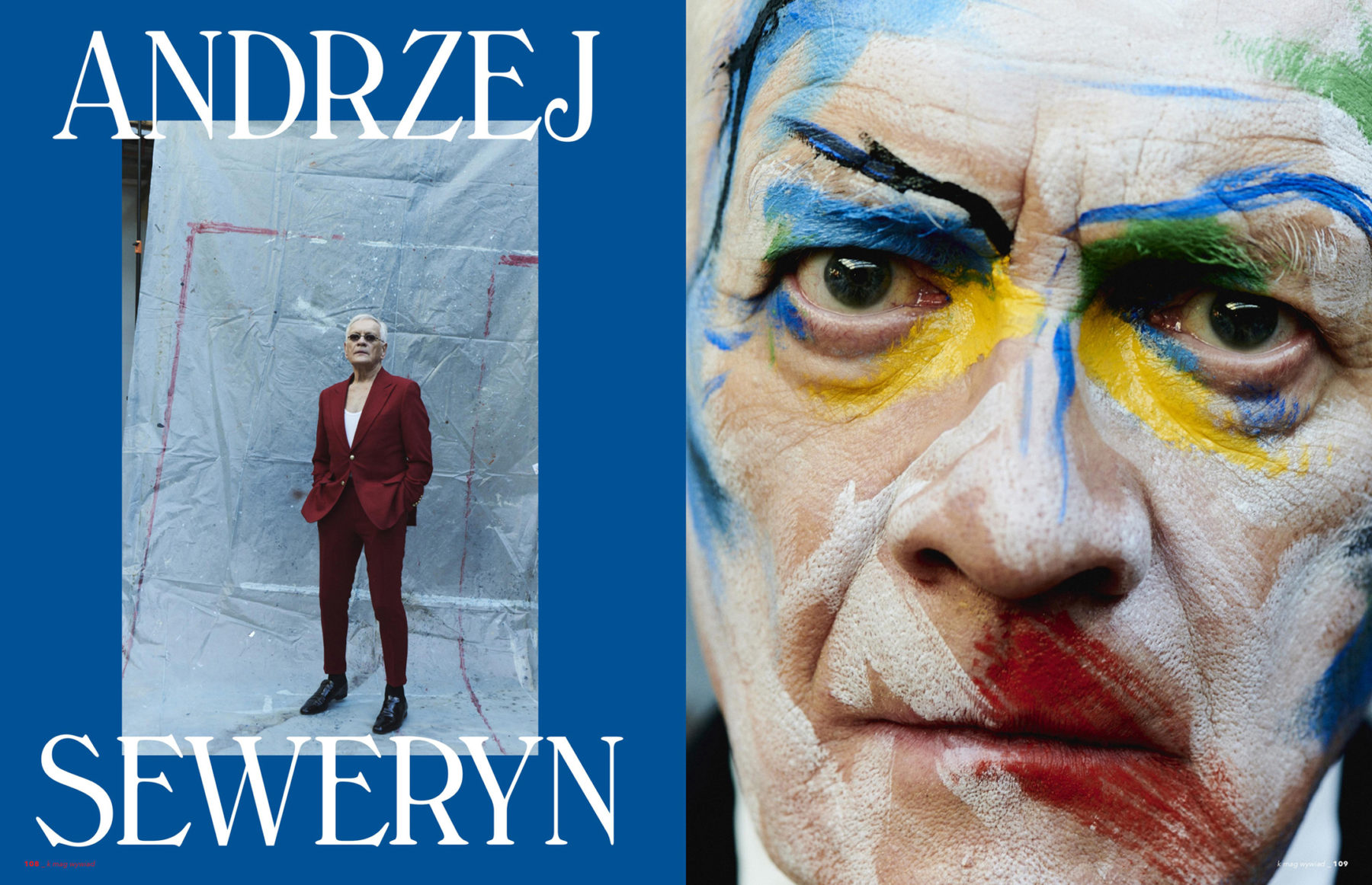 Portrait editorial of Andrzej Seweryn by makeup artist Aga Brudny